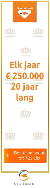 Staatsloterij koningsdagtrekking elke jaar € 250.000 euro 20 jaar lang