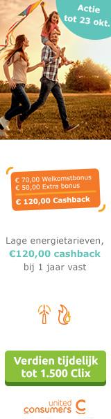 UnitedConsumers Energie 120 euro cashback bij 1 jaar
